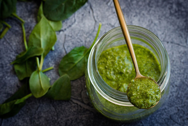 Prepared Pesto with fresh Basil
